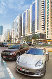 Streets of Abu Dhabi, capital city of United Arab Emirates. Stock Photography