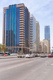 Streets of Abu Dhabi, capital city of United Arab Emirates. Royalty Free Stock Photos