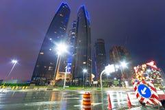 Streets of Abu Dhabi at night, UAE. Groundwork on the streets of Abu Dhabi at night, UAE Stock Photography
