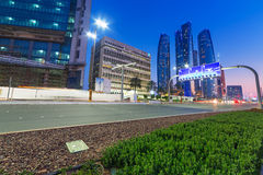 Streets of Abu Dhabi at night, UAE Stock Image