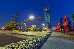 Streets of Abu Dhabi at night Stock Images