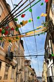 Streets adorned with garlands in Alfama, Lisbon stock photo