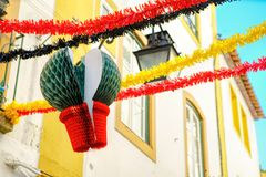 Streets adorned with garlands for the festivities of Saint Antho. Ny in Portugal royalty free stock photo