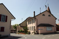 Streets of Allaman. Allaman is a municipality in the district of Morges in the canton of Vaud in Switzerland Stock Photos