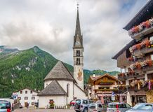 In the streets of Alleghe in Italy Dolomites Royalty Free Stock Images