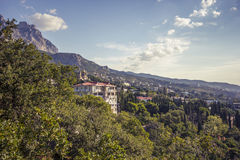 Streets of Alupka. A small town in the south of Crimea royalty free stock photo
