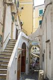 Streets of Amalfi. At Amalfi - Italy - On July 2018 - Lively street in the historical center of the town stock photo