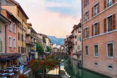 In the streets of amazing Annecy Stock Photography