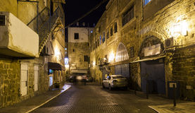 Streets of ancient city of akko at night. Royalty Free Stock Photography