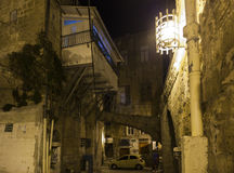 Streets of ancient city of akko at night.  Israel Stock Images