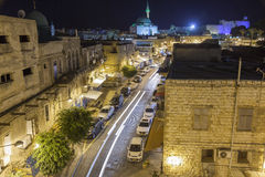 Streets of ancient city of akko at night. Stock Photos