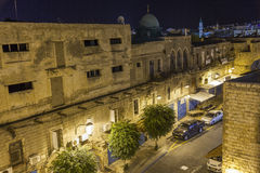 Streets of ancient city of akko at night. Stock Photo