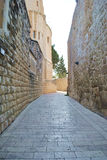 The streets of the ancient city of Jerusalem. The walls of the ancient city of Jerusalem Royalty Free Stock Photography