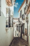 Streets of the ancient city in Ronda. Walk through the narrow streets of the `old city` in Ronda, Malaga, Spain royalty free stock photography