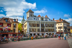 Streets of Annecy on a summer day. View of the old city of Annecy , France royalty free stock photo