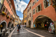 Streets of Annecy on a summer day. View of the old city of Annecy France royalty free stock photos