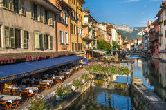 Streets of Annecy on a summer day. View of the old city of Annecy France stock images