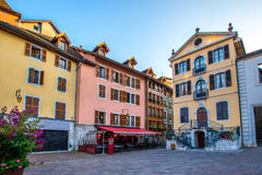 Streets of Annecy on a summer day. View of the old city of Annecy France royalty free stock photo