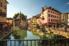 Streets of Annecy on a summer day. Royalty Free Stock Photo