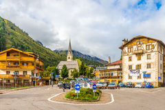 In the streets of Arabba village in Italy Dolomites Royalty Free Stock Image