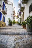 Streets and architecture along the Mediterranean coastal town in Royalty Free Stock Photos