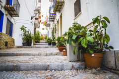 Streets and architecture along the Mediterranean coastal town in Royalty Free Stock Photography