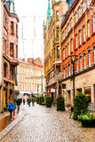Streets and architecture of city Malmo in the Christmas and holiday season in Sweden Stock Images