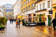 Streets and architecture of city Malmo in the Christmas and holiday season in Sweden Stock Photo