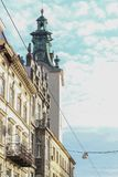 Streets and architecture of the old Lviv city on a sunny autumn day. Lviv city and Lviv old town with people. Streets and architecture of the old Lviv city on a royalty free stock images