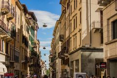 The streets and architecture of Verona, Italy. Touristic, travel. Architectural attractions of Verona, Italy. Houses and central streets in the summer Royalty Free Stock Images