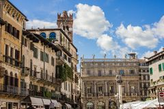 The streets and architecture of Verona, Italy. Touristic, travel. Architectural attractions of Verona, Italy. Houses and central streets in the summer Royalty Free Stock Photo