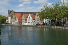 View of Brugge. Streets around river in Brugge stock images