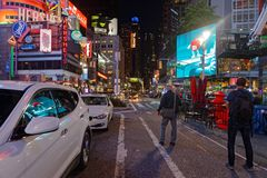 Streets around Times Square at night. NEW YORK CITY, USA, September 10, 2017 : Times square at night. Times Square is a major commercial intersection, tourist Royalty Free Stock Photo