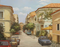 Streets of Athens ,Greece,handmade paintings Royalty Free Stock Image