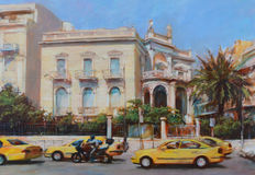 Streets of Athens ,Greece,handmade paintings. Streets of Athens ,Greece,handmade oil paintings on canvas Stock Images