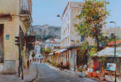 Streets of Athens ,Greece,handmade paintings. Streets of Athens ,Greece,handmade oil paintings on canvas Royalty Free Stock Photos