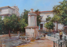 Streets of Athens ,Greece,handmade paintings. Streets of Athens ,Greece,handmade oil paintings on canvas Royalty Free Stock Image