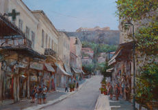 Streets of Athens ,Greece,handmade paintings. Streets of Athens ,Greece,handmade oil paintings on canvas Royalty Free Stock Images