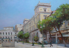 Streets of Athens ,Greece,handmade paintings. Streets of Athens ,Greece,handmade oil paintings on canvas Stock Photos