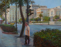 Streets of Athens ,Greece,handmade paintings. Streets of Athens ,Greece,handmade oil paintings on canvas Royalty Free Stock Photo