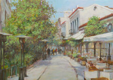 Streets of Athens ,Greece,handmade paintings. Streets of Athens ,Greece,handmade oil paintings on canvas Royalty Free Stock Photography