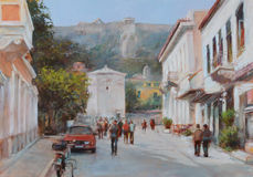 Streets of Athens ,Greece,handmade paintings Stock Photography