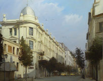 Streets of Athens ,Greece,handmade paintings. Streets of Athens ,Greece,handmade oil paintings on canvas Stock Photography
