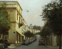 Streets of Athens ,Greece,handmade paintings Royalty Free Stock Photo