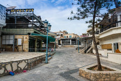 Streets of Ayia Napa, Cyprus. Streets containing deserted bars and nightclubs of Ayia Napa during the off season in southern Cyprus. Photograph taken March 16 Royalty Free Stock Image