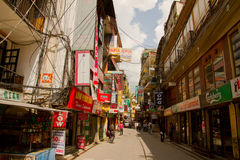 The streets of the backpacking area of Thamel, Kathmandu, Nepal Royalty Free Stock Photography