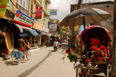 The streets of the backpacking area of Thamel, Kathmandu, Nepal Stock Photography