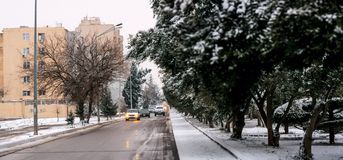 Streets of Baku in snow winter day Stock Image