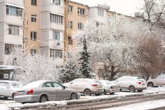 Streets of Baku in snow winter day Royalty Free Stock Photos