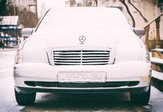 Mercedes Snow winter day Stock Photography